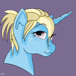 Size: 2500x2500 | Tagged: safe, artist:littlewolfstudios, oc, oc only, oc:helping hoof, avatar, bust, female, filly, solo