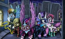 Size: 5000x3000 | Tagged: safe, artist:craszh, applejack, fili-second, fluttershy, masked matter-horn, mistress marevelous, pinkie pie, radiance, rainbow dash, rarity, saddle rager, twilight sparkle, zapp, alicorn, power ponies (episode), season 4, mane six, maretropolis, power ponies, twilight sparkle (alicorn)