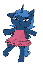Size: 384x576 | Tagged: safe, artist:artylovr, princess luna, clothes, dancing, filly, solo, tutu, woona
