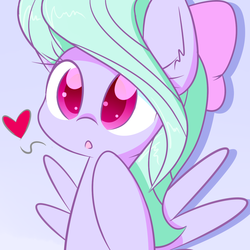 Size: 1280x1280   Tagged: safe, artist:acersiii, flitter, pony, cute, female, flitterbetes, heart, simple background, solo