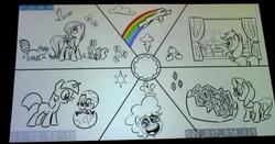 Size: 1844x964 | Tagged: safe, screencap, applejack, fluttershy, pinkie pie, rainbow dash, rarity, spike, twilight sparkle, the cutie re-mark, animatic, cutie mark magic, mane six, san diego comic con, sdcc 2015, sonic rainboom, storyboard