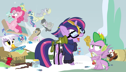 Size: 980x560   Tagged: safe, artist:dm29, bon bon, derpy hooves, dj pon-3, doctor whooves, gilda, lemon hearts, lyra heartstrings, minuette, moondancer, octavia melody, pinkie pie, rainbow dash, smooze, spike, sweetie drops, time turner, trouble shoes, twilight sparkle, twinkleshine, vinyl scratch, alicorn, griffon, pony, twittermite, amending fences, appleoosa's most wanted, bloom and gloom, castle sweet castle, make new friends but keep discord, party pooped, princess spike (episode), slice of life (episode), tanks for the memories, the cutie map, the lost treasure of griffonstone, alternate hairstyle, background six, bow, bowtie, box, cardboard box, clothes, crossed arms, crossing the memes, crying, derp, female, floating, frown, glare, glasses, hat, i didn't listen, i'm pancake, jar, looking away, mare, meme, new crown, punklight sparkle, sitting, sled, snow, staff, staff of sameness, sweater, the meme continues, the ride never ends, the story so far of season 5, this isn't even my final form, top hat, twilight scepter, twilight sparkle (alicorn), unamused, volumetric mouth, wide eyes