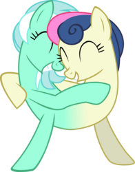 Size: 2733x3490 | Tagged: safe, artist:credechica4, bon bon, lyra heartstrings, sweetie drops, do princesses dream of magic sheep, adorabon, conjoined, cute, female, fusion, hug, lesbian, lyrabetes, lyrabon, lyrabon (fusion), pushmi-pullyu, shipping, simple background, transparent background, we have become one