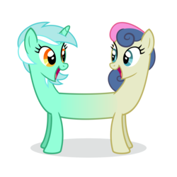 Size: 8000x8000 | Tagged: safe, artist:ivacatherianoid, bon bon, lyra heartstrings, sweetie drops, do princesses dream of magic sheep, absurd resolution, adorabon, best friends, cute, eye contact, female, lesbian, looking back, lyrabetes, lyrabon, lyrabon (fusion), open mouth, pushmi-pullyu, shipping, simple background, smiling, transparent background, vector, we have become one
