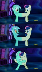 Size: 1280x2160 | Tagged: safe, edit, screencap, bon bon, lyra heartstrings, sweetie drops, do princesses dream of magic sheep, adorabon, catdog, conjoined, cute, dream, eye contact, eyes closed, grin, happy, hug, lyrabetes, lyrabon (fusion), open mouth, ponyville, pushmi-pullyu, shipping fuel, smiling, we have become one