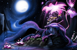 Size: 1920x1242 | Tagged: safe, artist:silfoe, princess luna, alicorn, pony, do princesses dream of magic sheep, beautiful, ethereal tail, eyes closed, female, floppy ears, lotus (flower), luna's dream, mare, missing accessory, moon, night, outdoors, prone, scene interpretation, sleeping, smiling, solo, stars, surreal, that was fast, water