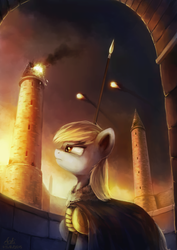 Size: 4677x6614 | Tagged: safe, artist:anticular, derpy hooves, pegasus, pony, absurd resolution, armor, badass, cape, clothes, epic derpy, explosion, female, fight, fire, fireball, general derpy, mare, serious, solo, spear, tower