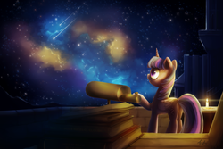 Size: 7800x5200 | Tagged: absurd res, alicorn, artist:anticularpony, balcony, book, candle, female, mare, nebula, pony, safe, shooting star, solo, stargazing, telescope, twilight sparkle, twilight sparkle (alicorn)