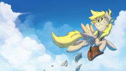 Size: 9000x5065 | Tagged: safe, artist:anticular, artist:fritzybeat, derpy hooves, pegasus, pony, absurd resolution, female, flying, letter, mail, mailbag, mailpony, mare, smiling, solo