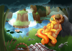Size: 1280x904 | Tagged: safe, artist:sugaryviolet, spitfire, oc, oc:chocolate chips, earth pony, pegasus, pony, blushing, canon x oc, clover, crepuscular rays, cuddling, cute, eyes closed, female, firechips, forest, four leaf clover, freckles, grass, grin, male, mare, nature, on back, outdoors, picnic, scenery, shipping, side, smiling, snuggling, stallion, straight, underhoof, water, waterfall