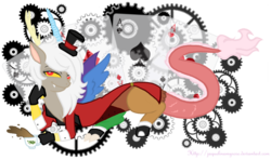 Size: 900x533 | Tagged: source needed, useless source url, safe, artist:jaquelindreamz, discord, draconequus, clothes, eris, female, looking at you, mad hatter, playing card, rule 63, solo, teacup