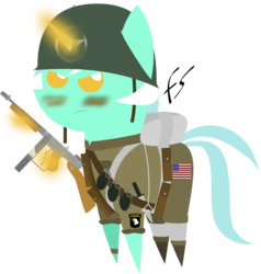 Size: 5600x5875 | Tagged: safe, artist:facelesssoles, lyra heartstrings, absurd resolution, airborne, clothes, female, grenade, gun, helmet, knife, military, paratrooper, pointy ponies, soldier, solo, tommy gun, uniform, united states, weapon, world war ii