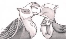 Size: 2193x1320 | Tagged: safe, artist:graboiidz, gilda, greta, griffon, behaving like a bird, billing and cooing, birds doing bird things, catbird, clothes, cute, eyes closed, female, fluffy, gildadorable, grelda, gretadorable, griffons doing bird things, kissing, lesbian, monochrome, scarf, shipping, smiling, spread wings, traditional art