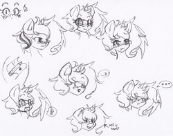 Size: 1038x820 | Tagged: safe, artist:fiji-firefox, oc, oc only, ..., blushing, bust, cutie mark, dialogue, glasses, looking at you, monochrome, open mouth, sketch, smiling