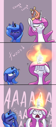 Size: 1200x2700   Tagged: safe, artist:underpable, philomena, princess celestia, princess luna, phoenix, pony, aaaaaaaaaa, blushing, cewestia, coughing, cute, cutelestia, d:, dialogue, eyes closed, female, filly, fire, floppy ears, funny, grin, laughing, lunabetes, on fire, open mouth, pink-mane celestia, screaming, smiling, tongue out, underpable is trying to murder us, wide eyes, woona