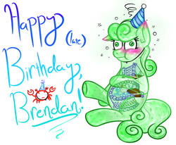 Size: 1280x1055 | Tagged: safe, artist:angelartgallery, oc, oc only, goo pony, original species, birthday cake, birthday gift art, blushing, cake, chubby, chubby cheeks, derp, see-through, stomach ache, stuffed