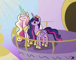 Size: 2008x1591 | Tagged: safe, artist:bananimationofficial, princess cadance, twilight sparkle, eyes closed, frown, glowing horn, magic, older, twilight sparkle (alicorn)