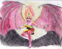 Size: 2842x2229   Tagged: safe, artist:dashprime, sunset shimmer, demon, equestria girls, female, large wings, solo, sunset satan, traditional art