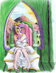 Size: 2065x2689 | Tagged: safe, artist:dashprime, princess cadance, queen chrysalis, changeling, human, cleavage, clothes, disguise, disguised changeling, dress, fake cadance, female, glowing eyes, humanized, looking at you, sandals, sitting, smirk, solo, traditional art, window