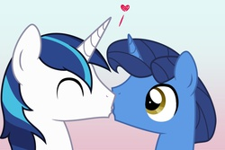 Size: 1280x853 | Tagged: safe, artist:askcherrymocha, night light, shining armor, father and son, gay, heart, incest, kissing, male, shining light, shipping