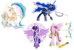 Size: 5876x3995 | Tagged: safe, artist:virenth, princess cadance, princess celestia, princess luna, twilight sparkle, alicorn, pony, alicorn tetrarchy, alternate hairstyle, armor, arrow, bow (weapon), bow and arrow, female, halberd, kite shield, magic, magic circle, mare, polearm, ponytail, shield, simple background, spear, sword, transparent background, twilight sparkle (alicorn), warrior cadance, warrior celestia, warrior luna, warrior twilight sparkle, weapon