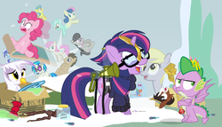Size: 980x560   Tagged: safe, artist:dm29, bon bon, derpy hooves, dj pon-3, doctor whooves, gilda, lemon hearts, lyra heartstrings, minuette, moondancer, octavia melody, pinkie pie, rainbow dash, smooze, spike, sweetie drops, time turner, trouble shoes, twilight sparkle, twinkleshine, vinyl scratch, alicorn, griffon, pony, twittermite, amending fences, appleoosa's most wanted, bloom and gloom, castle sweet castle, do princesses dream of magic sheep, make new friends but keep discord, party pooped, princess spike (episode), slice of life (episode), tanks for the memories, the cutie map, the lost treasure of griffonstone, alternate hairstyle, background six, bowtie, box, cardboard box, clothes, crossing the memes, crying, derpysaur, female, fusion, glasses, hat, i didn't listen, i'm pancake, lyrabon (fusion), mare, meme, new crown, punklight sparkle, sled, snow, staff, staff of sameness, sweater, the meme continues, the ride never ends, the story so far of season 5, this isn't even my final form, top hat, twilight scepter, twilight sparkle (alicorn), volumetric mouth, wall of tags
