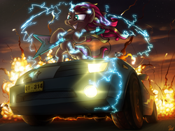 Size: 4000x3000   Tagged: safe, artist:pirill, derpy hooves, sunset shimmer, pony, unicorn, absurd resolution, awesome, badass, car, chevrolet camaro, electric guitar, electricity, epic, explosion, flash sentry's car, flying v, guitar, metal, metal as fuck, musical instrument, night, rock (music), stars, sunset shredder, when you see it, windswept mane