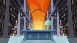 Size: 7115x4000 | Tagged: safe, artist:jeatz-axl, twilight sparkle, alicorn, pony, do princesses dream of magic sheep, season 5, absurd resolution, background, book, desk, dream, female, lamp, library, light, mare, scenery, twilight sparkle (alicorn), vector