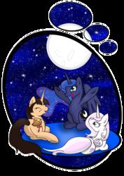 Size: 2480x3508 | Tagged: safe, artist:caldercloud, fleur-de-lis, princess luna, oc, oc:spring beauty, alicorn, pony, alicorn oc, alicornified, fleur-de-corne, race swap