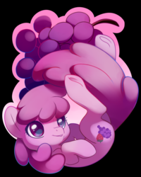 Size: 1600x2000 | Tagged: safe, artist:sambragg, berry punch, berryshine, earth pony, pony, aside glance, black background, falling, female, grapes, mare, simple background, solo, underhoof