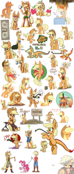 Size: 3000x7000 | Tagged: absurd res, anthro, anthro centaur, applebreezie, applejack, artist:heir-of-rick, banjo, boots, breezie, breeziefied, caramel apple (food), centaur, centaurjack, chest fluff, clothes, collage, confetti, cowboy bebop, cyborg, doctor who, dollar, ear fluff, element of honesty, element of loyalty, engiejack, engineer, feed bag, filly, fire, flashlight (object), floppy ears, goggles, gun, hat, hatless, horses doing horse things, humanized, impossibly large ears, indiana jones, jeans, leash, missing accessory, mjölnir, monster pony, musical instrument, on fire, original species, overalls, pants, parody, pegasus, pinkie pie, pony, pony pet, race swap, safe, scarf, semi-anthro, shoes, simple background, species swap, style emulation, super mario bros., tatzljack, tatzlpony, team fortress 2, this is fine, thor, trap (device), tremors, turret, volleyball, waving, weapon, white background, yoshi