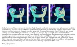 Size: 855x528 | Tagged: safe, screencap, bon bon, lyra heartstrings, sweetie drops, do princesses dream of magic sheep, best friends, fusion, hug, lyrabon (fusion), philosophy, plato, text