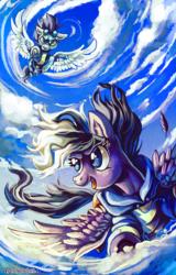 Size: 903x1414 | Tagged: dead source, safe, artist:matrosha123, soarin', oc, oc:stormblaze, cloud, cloudy, flying, goggles, wonderbolts uniform