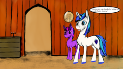 Size: 1920x1080 | Tagged: safe, artist:trapped in a jar, shining armor, twilight sparkle, brothers, colt, comic, dusk shine, dusk shining, foal, interior, male, nudity, playful love, rule 63, sheath, siblings, speech bubble, teenager, unshorn fetlocks, younger