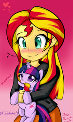 Size: 1200x2000   Tagged: safe, artist:noisyvox, sunset shimmer, twilight sparkle, pony, unicorn, equestria girls, biting, blushing, cross-eyed, cute, female, hair bite, happy, heart, hnnng, holding a pony, lesbian, looking up, mane bite, music notes, nom, pony pet, shimmerbetes, shipping, simple background, smiling, sunsetsparkle, twiabetes, unicorn twilight, weapons-grade cute