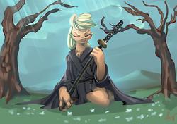 Size: 3471x2446 | Tagged: safe, artist:alumx, applejack, anthro, clothes, katana, robe, samurai, samurai applejack, solo, sword, weapon