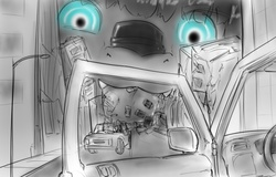 Size: 1004x642 | Tagged: safe, artist:alloyrabbit, oc, oc only, oc:orchid, pony, building, car, city, destruction, eyes, fetish, giant pony, licking, macro, monochrome, tongue out, vore