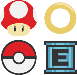 Size: 1635x1610 | Tagged: safe, artist:great-5, oc, oc only, oc:nintendy, barely pony related, crossover, cutie mark, cutie mark only, e-tank, megaman, nintendo, no pony, pokéball, pokémon, ring, sega, simple background, sonic the hedgehog (series), super mario bros., super mushroom, transparent background, vector