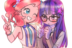 Size: 900x600 | Tagged: safe, artist:quizia, pinkie pie, sci-twi, twilight sparkle, equestria girls, friendship games, adorkable, alternate hairstyle, armpits, blushing, cute, diapinkes, dork, female, glasses, lesbian, loose hair, moe, peace sign, quizia is trying to murder us, raptor hands, scitwinkie, shipping, twiabetes, twinkie