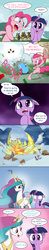Size: 1733x8838 | Tagged: safe, artist:doublewbrothers, pinkie pie, prince rutherford, princess celestia, twilight sparkle, alicorn, earth pony, pony, yak, party pooped, :<, :o, alternate ending, angry, bipedal, blast, boom, comic, crown, dark comedy, destruction, dialogue, female, fire, floppy ears, frown, genocide, glare, glowing horn, hoof hold, horn, implied death, jewelry, magic, magic blast, mare, north korea, open mouth, overkill, party cannon, peytral, ponyville, regalia, scene parody, season 5 comic marathon, shocked, sign, smiling, smoke, speech bubble, squishy cheeks, steam, stomping, text, this will end in death, this will end in explosions, this will end in tears, this will end in tears and/or death, twilight sparkle (alicorn), wide eyes, worried, yakyakistan, yelling