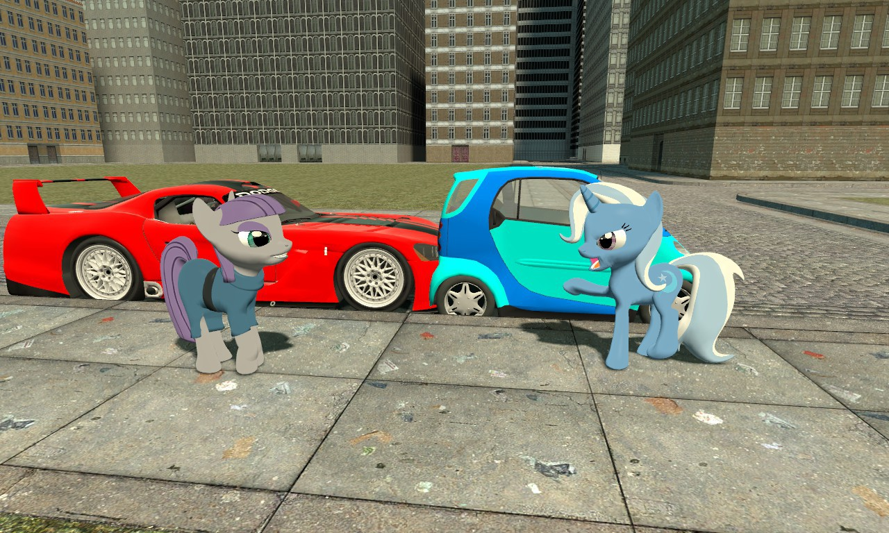 928199 Car Accident Dodge Viper Gts R Female Gmod Mare Maud Pie Pony Safe Smart Fortwo Trixie