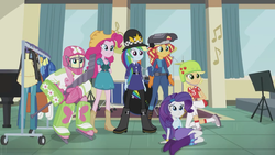Size: 1920x1080 | Tagged: safe, screencap, applejack, fluttershy, pinkie pie, rainbow dash, rarity, sunset shimmer, equestria girls, friendship games, awkward, bobby hat, boots, bracelet, clothes, context is for the weak, cowboy boots, cowboy hat, drum kit, drums, equestrian, farmer pinkie, hat, helmet, high heel boots, hockey, hockey helmet, hockey mask, hockey stick, jewelry, mask, musical instrument, piano, police, police uniform, pun, rozzer dash, shoes, skirt, sports, sunset welder, visual pun, wat, welding mask