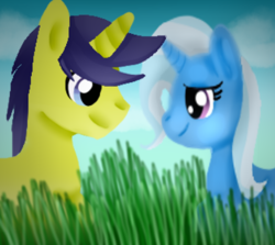 Size: 390x348 | Tagged: safe, artist:sabrina-tellijohn, comet tail, trixie, pony, unicorn, cometrix, female, male, mare, shipping, straight