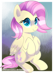 Size: 1394x1866 | Tagged: safe, artist:xwhitedreamsx, fluttershy, alternate hairstyle, cute, shyabetes, sitting, solo
