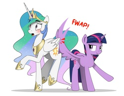 Size: 6352x4961 | Tagged: safe, artist:candylux, princess celestia, twilight sparkle, alicorn, pony, absurd resolution, balancing, bedroom eyes, blushing, butt touch, feathermarking, female, lesbian, mare, open mouth, raised hoof, raised leg, shipping, spanking, spread wings, surprised, this will end in tears and/or a journey to the moon, twilestia, twilight sparkle (alicorn), wide eyes, wing hands, wingspank
