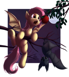 Size: 1500x1672   Tagged: safe, artist:hieronymuswhite, fluttershy, bat, :o, annoyed, apple, cute, eyes on the prize, fangs, female, fluffy, flutterbat, glare, hanging, moon, night, open mouth, shyabetes, solo, spread wings, stars, that pony sure does love apples, tree, tree branch, underhoof, upside down