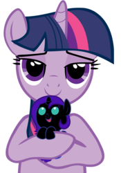 Size: 2800x4000 | Tagged: safe, artist:beavernator, twilight sparkle, oc, oc:nyx, pony, baby, baby pony, beavernator is trying to murder us, cute, female, filly, foal, holding a pony, hug, mama twilight, mother and daughter, nyxabetes, ocbetes, simple background, vector, weapons-grade cute, white background