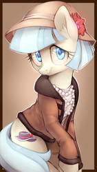 Size: 1000x1774 | Tagged: artist:lightning-stars, clothes, cocobetes, coco pommel, cute, ear fluff, earth pony, featured image, female, flower, hat, jacket, jewelry, looking at you, mare, necklace, pearl, pony, raised hoof, safe, simple background, sitting, smiling, solo, transparent background