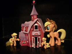 Size: 1280x960 | Tagged: apple family, applejack, barn, blind bag, funko, mcdonalds happy meal toys, photo, safe, size comparison, sweet apple acres, toy