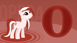 Size: 3840x2160 | Tagged: safe, artist:djdavid98, artist:tsabak, oc, oc only, oc:opera, pony, browser ponies, cute, opera, solo, vector, wallpaper